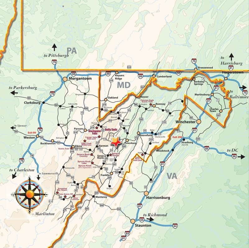 State Map showing location of Snowshoe Mountain Resort area
